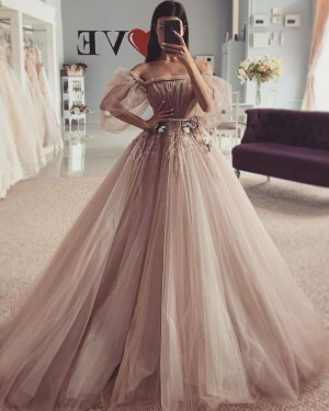 Ruched Beading Tulle Off the Shoulder Brown Wedding Dress WD2425
