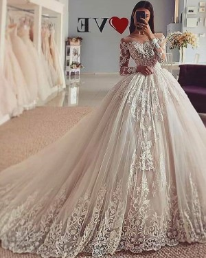 Lace Tulle Sheer Neckline White Ball Gown Wedding Dress with Long Sleeves WD2426