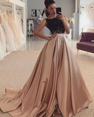 Black & Brown Jewel Neckline Satin Beading Bodice Evening Dress WD2427