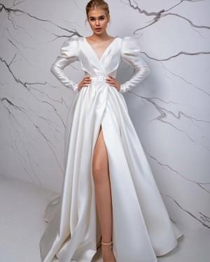 V-neck Satin White Long Sleeve Simple Vintage Wedding Dress with Slit WD2428