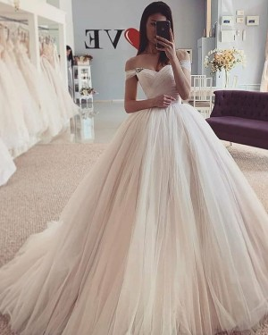 Ivory Tulle Pleated Off the Shoulder Simple Wedding Dress WD2429