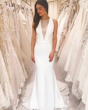 White Sheath Simple Jewel Neckline Wedding Dress with Court Strain WD2430