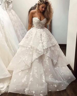 Lace Ruffle Sweetheart White Wedding Dress WD2431