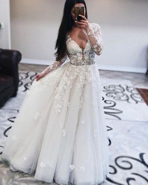 Pleated White Tulle V-neck Wedding Dress with Long Sleeves WD2432