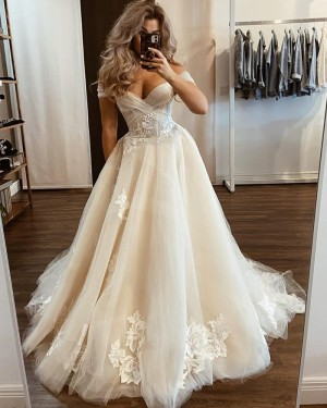 Tulle Applique Ivory Off the Shoulder Wedding Dress WD2433