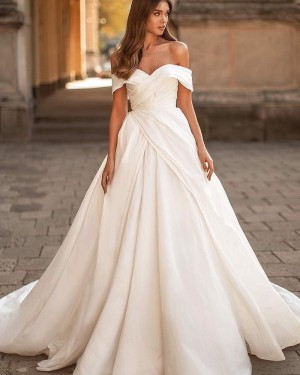 White Ruched Satin Off the Shoulder Simple Wedding Dress WD2434