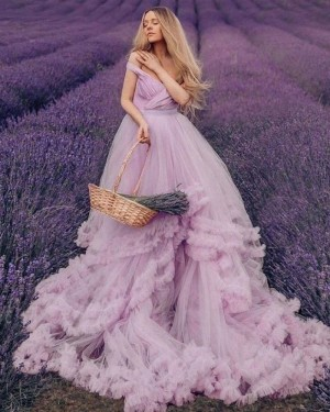 Ruched Tulle Tiered Feather V-neck Lavender Wedding Dress WD2437