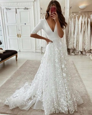 Handmade Flower White V-neck Wedding Dress with Half Length Sleeves WD2438