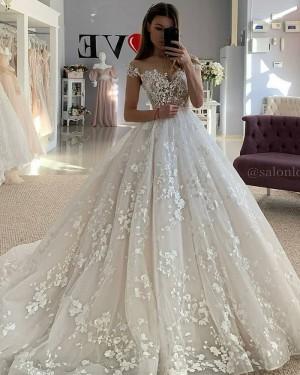 Elegant Lace Applique Ivory Off the Shoulder Wedding Dress WD2439