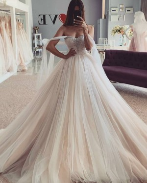 Tulle Champagne Beading Bodice Wedding Dress with Flutter Sleeves WD2440