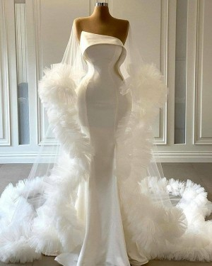 White Tulle Cowl Neckline Mermaid Bell Sleeves Wedding Dress with Feather Hems WD2441