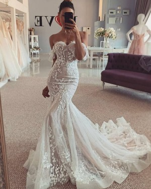 Ivory Off the Shoulder Lace Mermaid Wedding Dress WD2444