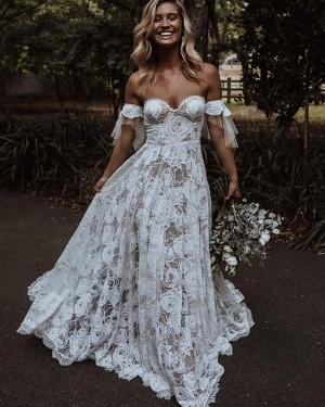 Off the Shoulder Ivory Lace A-line Wedding Dress WD2447
