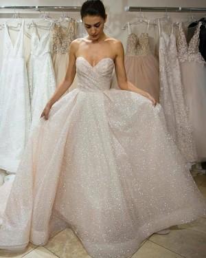 Elegant Blinking Sweetheart Ruched Sequin Wedding Dress WD2449