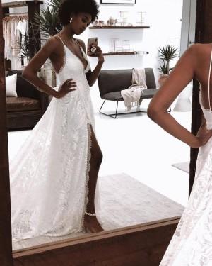 Lace White Spaghetti Straps Wedding Dress with Side Slit WD2450