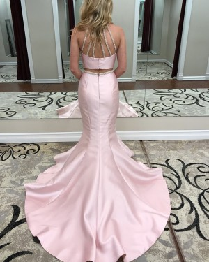 High Neck Pink Beading Two Piece Satin Mermaid Prom Dress pd1504