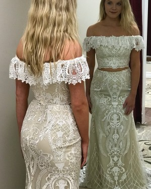 Ivory Lace Off the Shoulder Two Piece Prom Dress pd1507