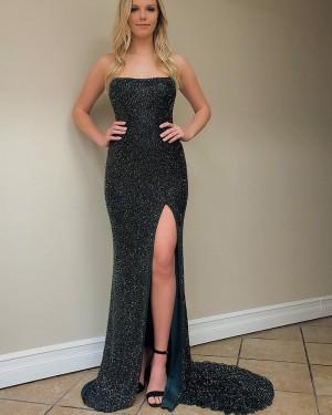 Strapless Black Mermaid Metallic Beading Evening Dress with Side Slit pd1516