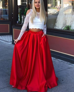 Two Piece Jewel Long Sleeve Lace Bodice Prom Dress with Red Skirt pd1521