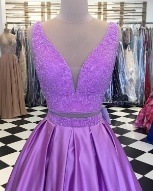 Lavender Beading Bodice Two Piece Satin Pleated Prom Dress pd1525