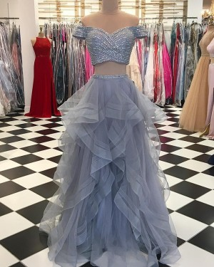 Two Piece Grey Sequin Pattern Bodice Prom Dress with Ruffled Skirt pd1527