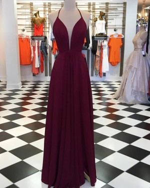 Simple Burgundy Pleated Prom Dress with Side Slit pd1538