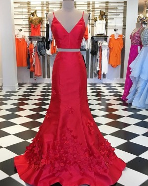 Two Piece Red Mermaid Prom Dress with Handmade Flowers pd1543