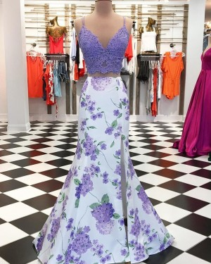 Two Piece Purple Mermaid Slit Prom Dress with Floral Print Skirt pd1544