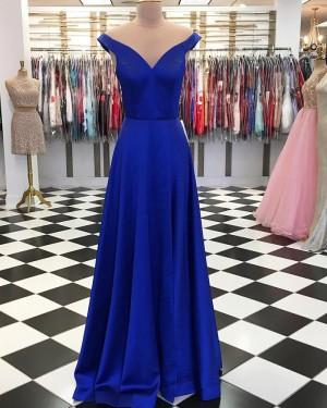 Simple Satin Royal Blue Off the Shoulder Long Formal Dress pd1551