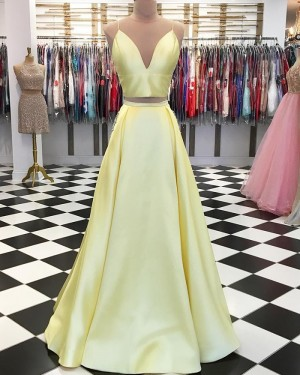 Two Piece Spaghetti Straps Yellow Simple Pleated Long Formal Dress pd1553