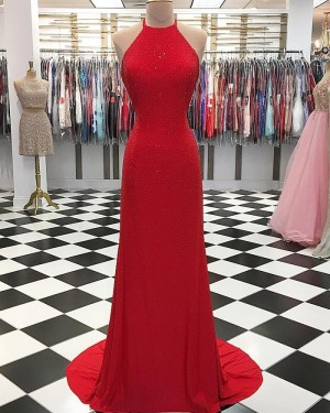 Sparkle Beading Halter Neck Red Long Formal Dress pd1554