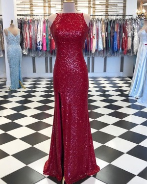 Red Sequin Mermaid High Neck Prom Dress with Side Slit pd1556