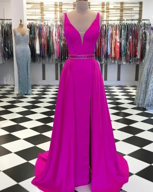 Rose Red V-neck Satin Long Formal Dress with Side Slit pd1560