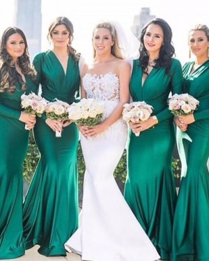 Satin Green V-neck Ruched Bridesmaid Dress with Long Sleeves pd1562