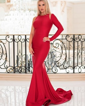 Simple Satin Red Jewel Mermaid Prom Dress with One Side Sleeve pd1565