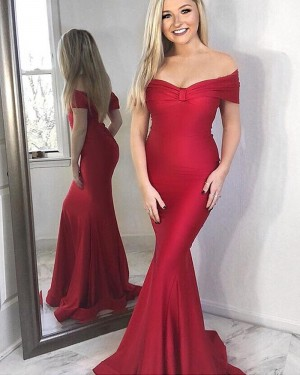Simple Ruched Red Satin Off the Shoulder Mermaid Prom Dress pd1571