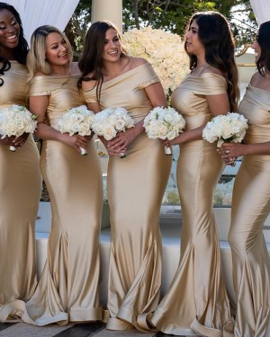 Champagne Satin Off the Shoulder Mermaid Bridesmaid Dress pd1572