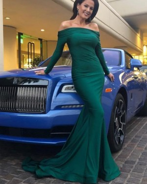 Simple Off the Shoulder Green Satin Evening Dress with Long Sleeves pd1574