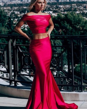 Simple Off the Shoulder Two Piece Red Satin Mermaid Prom Dress pd1575