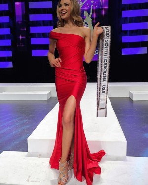 One Shoulder Red Satin Ruched Prom Dress with Side Slit pd1580