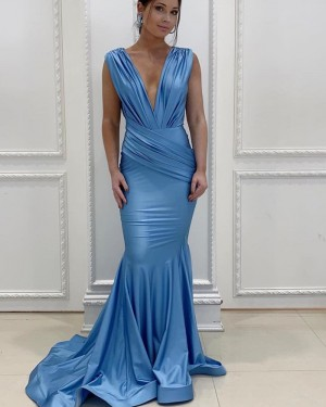Blue Pleated Deep V-neck Mermaid Bridesmaid Dress pd1583