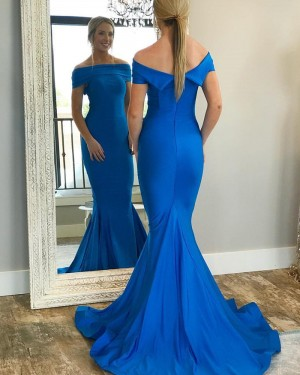 Simple Blue Mermaid Off the Shoulder Prom Dress pd1586