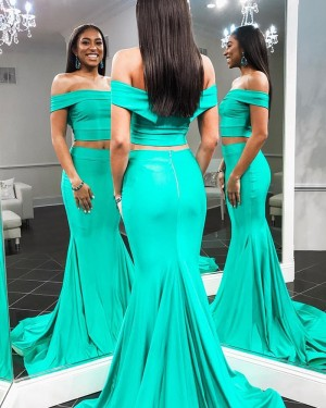 Two Piece Off the Shoulder Green Mermaid Prom Dress pd1588