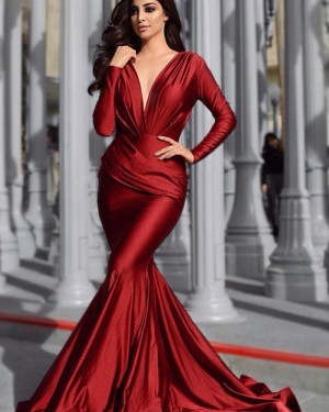 Deep V-neck Satin Mermaid Burgundy Ruched Prom Dress with Long Sleeves pd1590