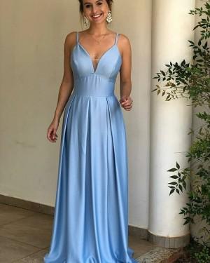Simple Spaghetti Straps Satin Blue Pleated Prom Dress pd1595