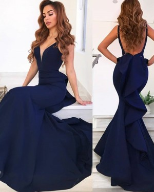 Simple Navy Blue Mermaid Satin Deep V-neck Evening Dress with Ruffled Back pd1596