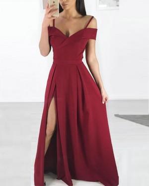 Cold Shoulder Burgundy Pleated Long Formal Dress with Side Slit pd1599