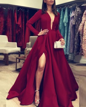 Simple Deep V-neck Burgundy Satin Evening Dress with Long Sleeves pd1601