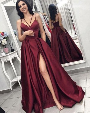 Double Spaghetti Straps Pleated Burgundy Satin Prom Dress with Side Slit pd1602