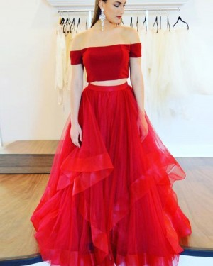 Red Two Piece Tulle Ruffled Off the Shoulder Prom Dress pd1604